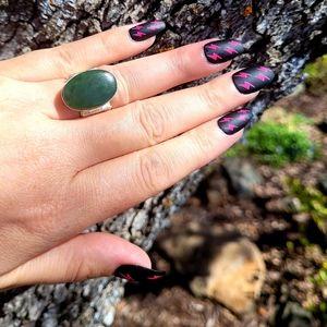 Artisan Green Aventurine Stone .925 Ring NWOT